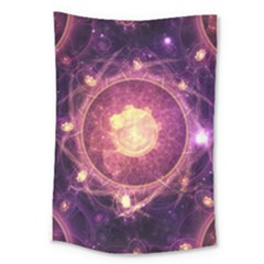 A Gold And Royal Purple Fractal Map Of The Stars Large Tapestry