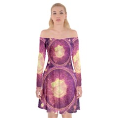 A Gold And Royal Purple Fractal Map Of The Stars Off Shoulder Skater Dress