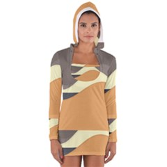 Wave Chevron Waves Material Women s Long Sleeve Hooded T-shirt by Mariart
