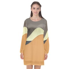 Wave Chevron Waves Material Long Sleeve Chiffon Shift Dress  by Mariart