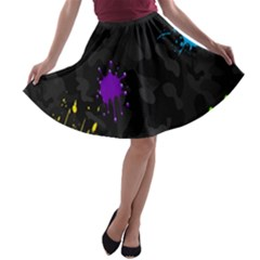 Black Camo Shot Spot Paint A Line Skater Skirt by Mariart