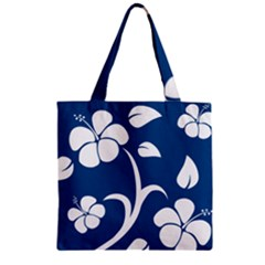 Blue Hawaiian Flower Floral Zipper Grocery Tote Bag by Mariart