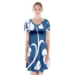 Blue Hawaiian Flower Floral Short Sleeve V Neck Flare Dress by Mariart