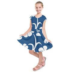 Blue Hawaiian Flower Floral Kids  Short Sleeve Dress
