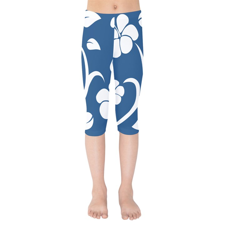 Blue Hawaiian Flower Floral Kids  Capri Leggings