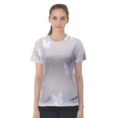 Butterfly Silhouette Organic Prints Linen Metallic Synthetic Wall Pink Women s Sport Mesh Tee by Mariart