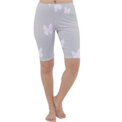 Butterfly Silhouette Organic Prints Linen Metallic Synthetic Wall Pink Cropped Leggings