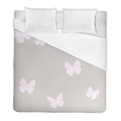 Butterfly Silhouette Organic Prints Linen Metallic Synthetic Wall Pink Duvet Cover (full/ Double Size) by Mariart