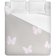Butterfly Silhouette Organic Prints Linen Metallic Synthetic Wall Pink Duvet Cover (california King Size) by Mariart
