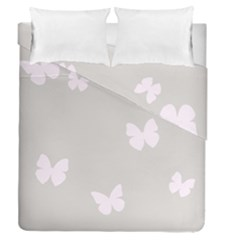 Butterfly Silhouette Organic Prints Linen Metallic Synthetic Wall Pink Duvet Cover Double Side (queen Size) by Mariart