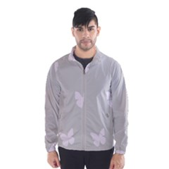 Butterfly Silhouette Organic Prints Linen Metallic Synthetic Wall Pink Wind Breaker (men)