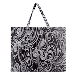 Black White Shape Zipper Large Tote Bag