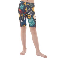 Compass Cypress Chair Arrow Wheel Star Mountain Kids  Mid Length Swim Shorts by Mariart