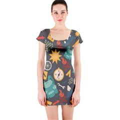 Compass Cypress Chair Arrow Wheel Star Mountain Short Sleeve Bodycon Dress by Mariart