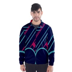 Flag Blue Orange Circle Polka Hole Space Wind Breaker (men)