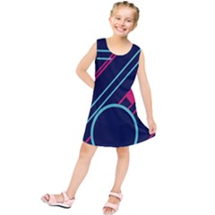Flag Blue Orange Circle Polka Hole Space Kids  Tunic Dress