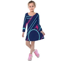 Flag Blue Orange Circle Polka Hole Space Kids  Long Sleeve Velvet Dress by Mariart