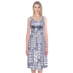 Building Citi Town Cityscape Midi Sleeveless Dress by Mariart
