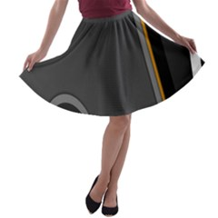 Flag Grey Orange Circle Polka Hole Space A-line Skater Skirt by Mariart