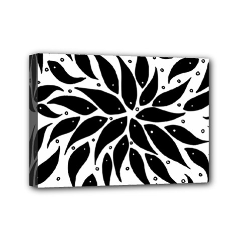 Flower Fish Black Swim Mini Canvas 7  X 5