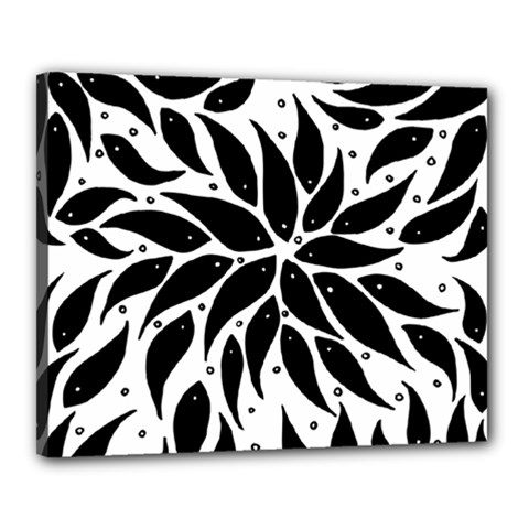 Flower Fish Black Swim Canvas 20  X 16  by Mariart