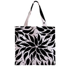 Flower Fish Black Swim Zipper Grocery Tote Bag by Mariart