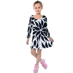 Flower Fish Black Swim Kids  Long Sleeve Velvet Dress by Mariart