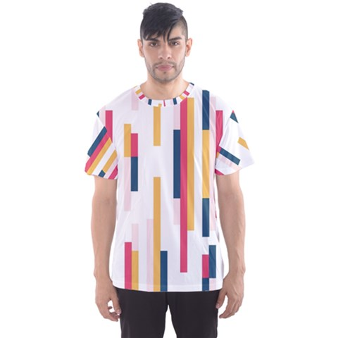 Geometric Line Vertical Rainbow Men s Sports Mesh Tee by Mariart