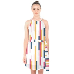 Geometric Line Vertical Rainbow Halter Collar Waist Tie Chiffon Dress by Mariart