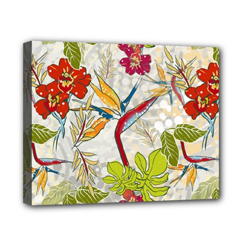 Flower Floral Red Green Tropical Canvas 10  X 8