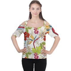 Flower Floral Red Green Tropical Women s Cutout Shoulder Tee by Mariart