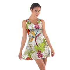 Flower Floral Red Green Tropical Cotton Racerback Dress