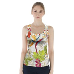 Flower Floral Red Green Tropical Racer Back Sports Top