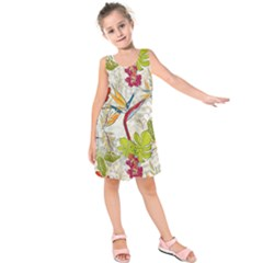 Flower Floral Red Green Tropical Kids  Sleeveless Dress by Mariart