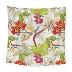Flower Floral Red Green Tropical Square Tapestry (large) by Mariart