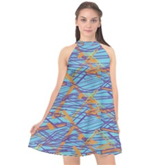 Geometric Line Cable Love Halter Neckline Chiffon Dress  by Mariart