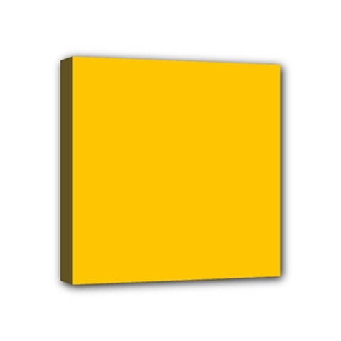 Amber Solid Color  Mini Canvas 4  X 4  by SimplyColor