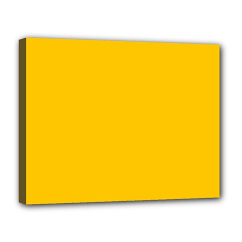 Amber Solid Color  Canvas 14  X 11  by SimplyColor