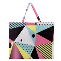 Geometric Polka Triangle Dots Line Zipper Large Tote Bag by Mariart