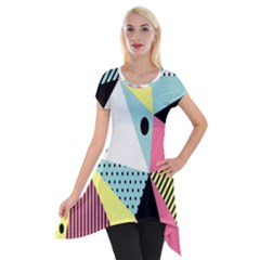 Geometric Polka Triangle Dots Line Short Sleeve Side Drop Tunic by Mariart
