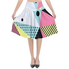 Geometric Polka Triangle Dots Line Flared Midi Skirt by Mariart