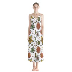 Flower Floral Sunflower Rose Pattern Base Button Up Chiffon Maxi Dress by Mariart