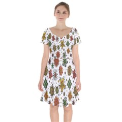 Flower Floral Sunflower Rose Pattern Base Short Sleeve Bardot Dress by Mariart
