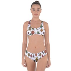 Flower Floral Sunflower Rose Pattern Base Criss Cross Bikini Set