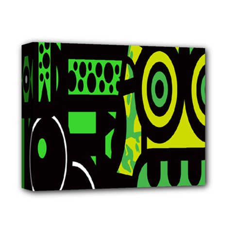 Half Grower Banner Polka Dots Circle Plaid Green Black Yellow Deluxe Canvas 14  X 11  by Mariart