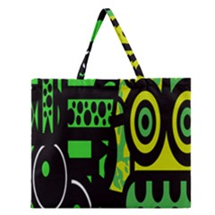 Half Grower Banner Polka Dots Circle Plaid Green Black Yellow Zipper Large Tote Bag