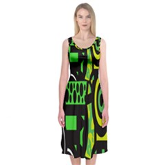 Half Grower Banner Polka Dots Circle Plaid Green Black Yellow Midi Sleeveless Dress