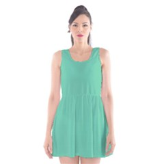 Aquamarine Solid Color  Scoop Neck Skater Dress by SimplyColor