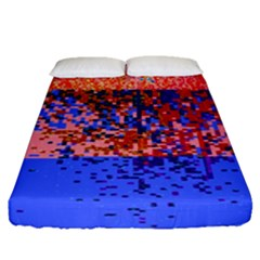 Glitchdrips Shadow Color Fire Fitted Sheet (queen Size) by Mariart