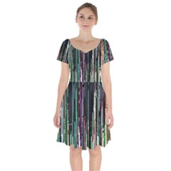 Heimbold Sign Random Shadow Line Vertical Light Short Sleeve Bardot Dress